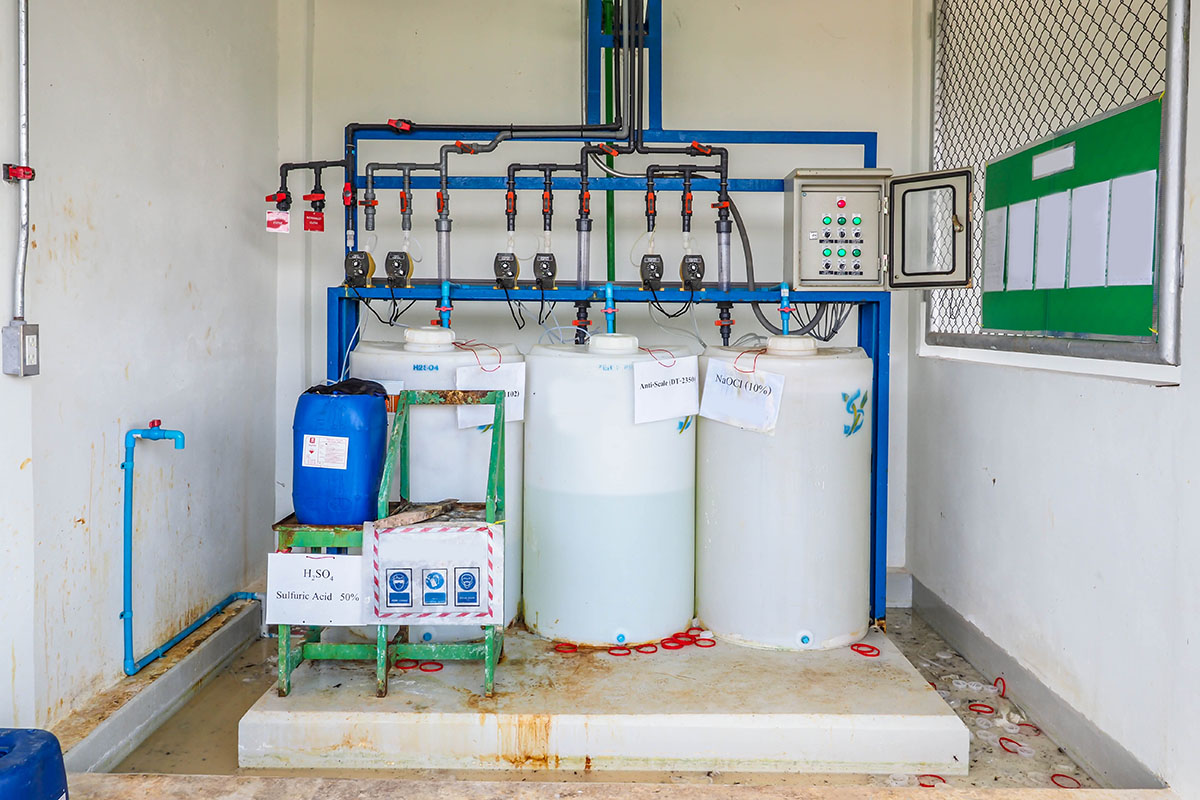 chemical feed water treatment equipment, emulsion polymer system, drums, polymers