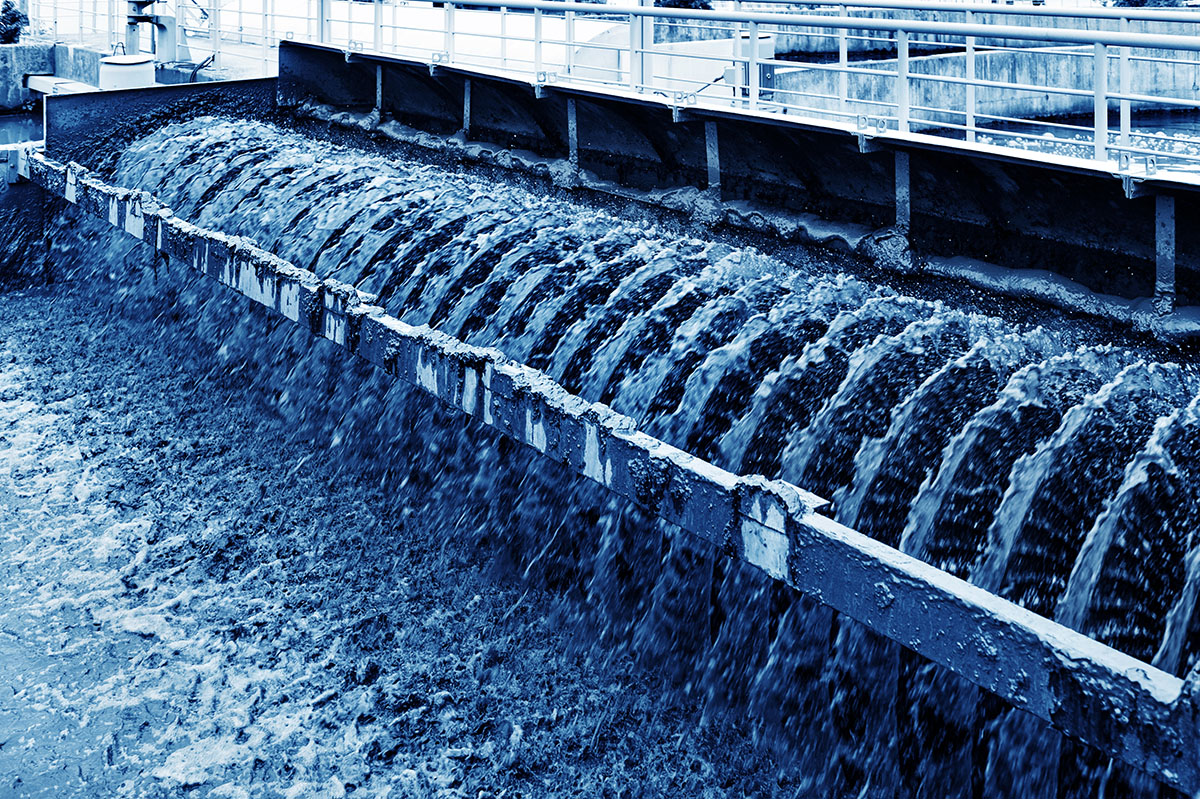 Wastewater treatment plant processing organic waste.